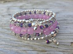 Purple Sparkle Dream Multi Strand Memory Wire by McHughCreations