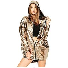 b2f722d8e406 Women Loose Hoodie Fashion Zip-up Faux-metallic Design Long Sleeves Jacket   gt