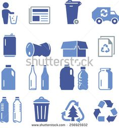 Recycling icons including paper, glass, aluminum, cardboard and plastic.  - stock vector