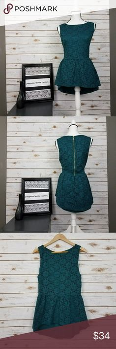 {Tart} Teal Lace High/Low Peplum Top-Size L Beautiful jewel teal toned top featuring lace shell, peplum, high/low hemline, and 15 inch exposed gold zipper in back. Fully lined. In like new condition. See image for approx. measurements (lying flat, length represents longest in back; front length is approx. 23.5 inches). Size Large. Brand: Tart. Shell: 92% Nylon, 8% Spandex. Lining: 95% Modal, 5% Spandex. ?Offers & bundles warmly welcomed. Tart Tops Blouses
