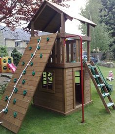 Creative Playthings Williamsburg with Playhouse Set 2 - Permanant sale prices - Outdoor Play Equipment Backyard Playground, Backyard For Kids, Backyard Fort, Backyard Playset, Cubby Houses, Play Houses, Wooden Climbing Frame, Kids Play Area, Play Areas