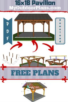 Free guide on how to build a pavilion. You can build this pavilion in one week using my free set of plans. Materials list cut list and step by step instructions included in the article. Backyard Pavilion, Outdoor Pavilion, Woodworking Projects Diy, Woodworking Plans, Wooden Playhouse, Metal Pergola, Diy Shed, Pergola Plans, Pergola Ideas