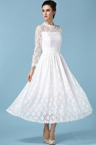 Stand Collar Sheer Lace Dress