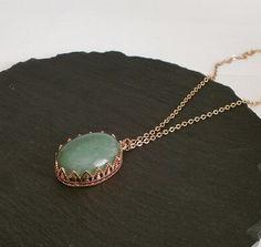 Kette mit Aventurin in Kronenfassung rosegold Pendant Necklace, Vintage, Jewelry, Fashion, Necklaces, Schmuck, Moda, Jewlery, Jewerly