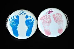 Gender Reveal Buttons Footprint Baby Shower Baby by PINKTASTIK
