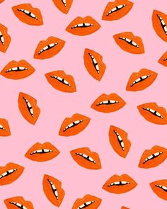 Orange Lips Pattern by Bouffants and Broken Hearts Orange Lips Pattern by Bouffants and Broken Hearts L Wallpaper, Whatsapp Wallpaper, Pattern Wallpaper, Trendy Wallpaper, Cute Backgrounds, Cute Wallpapers, Desktop Backgrounds, Pretty Patterns, Fun Patterns