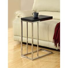 Compact Cappuccino/Chrome Metal Accent Table | Overstock.com Shopping - Great Deals on Monarch Coffee, Sofa & End Tables