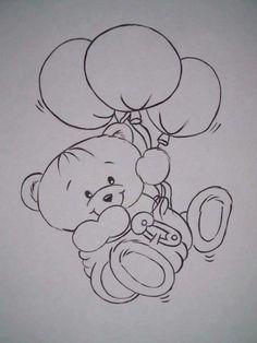 Baby Bear w/Balloons B&W