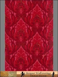 Pattern: wflo-9015 | Name: Gable Velvet Flocked Wall Paper | Category: More Red Flocked Velvet Patterns | DesignerWallcoverings.com  Specialty Wallpaper & Designer Wallcoverings for Home and Office.