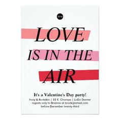 Valentine's Day Party Invitations Bold and Bright Valentine's Day Party Invitation