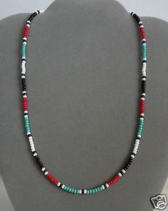 Turquoise-Red-Black-Mens-Womens-Necklace-Native-American-Made-All-Sizes