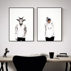 Hipster goat & Swan lady. Hand drawn illustrations made by Sanna Wieslander. Available as signed art prints and posters in several different sizes at www.sannawieslander.com