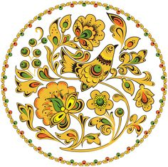 Folk Khokhloma painting from Russia. Round floral pattern with a bird. #art #folk #painting #Russian