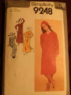 Rare Vintage 1979 Young Jr.Teen Nightshirt, PJs & Hat-Simplicity 9248-size 13/14