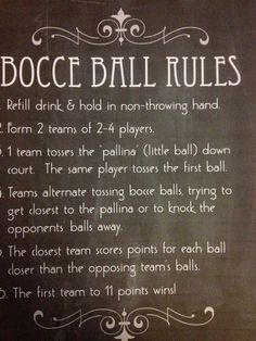 Bocce is a fun outdoor game that can be done with couples. This image displays a summarized view of the rules of bocce. This can be used in physical education as a poster to go over rules and as a reminder during play- Autumn Sims Garden Games, Backyard Games, Outdoor Games, Outdoor Fun, Backyard Beach, Backyard Office, Backyard Paradise, Backyard Retreat, Outdoor Ideas