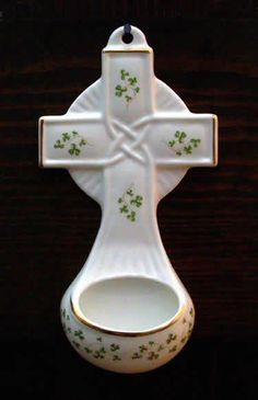 shamrock holder for holy water.  Always had one in my room as a child but never one this pretty.