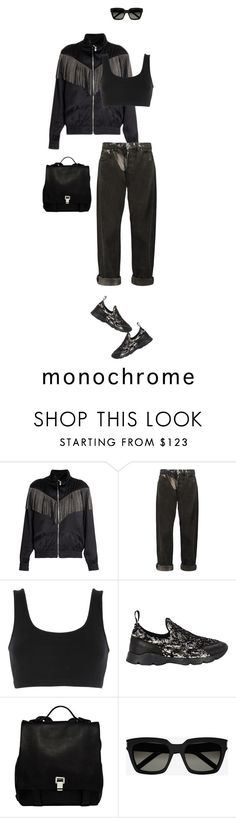 """""""62/365: Spring Monochrome"""" by liska-lis ❤ liked on Polyvore featuring Yves Saint Laurent, McQ by Alexander McQueen, adidas Originals, MM6 Maison Margiela and Proenza Schouler"""