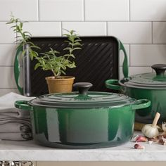 Le Creuset, Signature Cast-Iron Oval Dutch Oven in Sonoma Green, 6 3/4-Qt. for $320