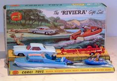 Corgi Toys Riviera Gift Set, comprising of a Buick Riviera, trailer, speedboat and dinghy, all except the car were useless once removed from the packaging Vintage Models, Vintage Ads, Corgi Toys, Buick Riviera, Metal Toys, Dinghy, Top Toys, Hot Wheels Cars, Model Airplanes
