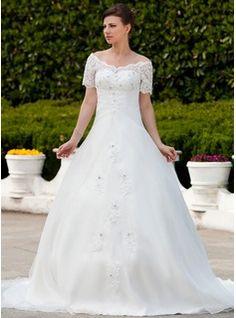 Corte de baile Hombros caídos Cola capilla Organdí Vestido de novia con Volantes Encaje Bordado