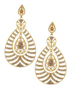 Striped Yellow Golden Teardrop Earrings by LK Designs at Neiman Marcus Last Call.