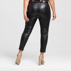 Women's Plus Size Skinny Crop Faux Leather Pants Black 24W - Who What Wear