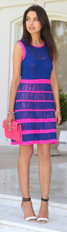 Neon knit dress, blue and pink contrast knit!