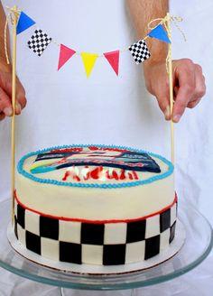 NASCAR cake, buttercream design, custom bunting topper
