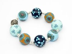 * Meer * sea bead bracelet Millefiori Polymer Clay , fimo, millefiori, Fimoperlen von filigran-Design auf DaWanda.com