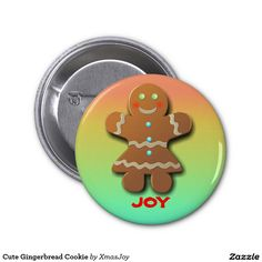 Cute Gingerbread Cookie 2 Inch Round Button