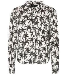 Monochrome Long Sleeve Palm Tree Print Boxy Shirt