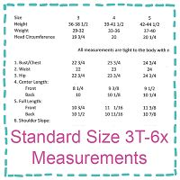 Standard Size Sewing Measurements for Kids!