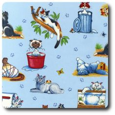 Cat mischief. Cat Background, Novelty Fabric, Michael Miller, Crazy Cats, Whimsical, Snoopy, Quilts, Pillows, Sewing