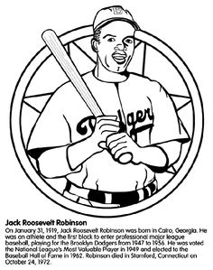 Jackie Robinson Coloring Page: Black History Month Printable ...