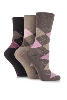 58beed2e4 3 Pairs Of Patterned Ladies Gentle Grip Non Elastic Socks (Great for  diabetics)