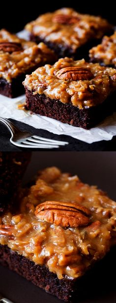 An over the top extra delicious brownie recipe! Two dreamy desserts in one! Brownie Recipes, Cake Recipes, Dessert Recipes, Easy Desserts, Delicious Desserts, German Chocolate Brownies, Brownie Bar, Savoury Cake, Dessert Bars