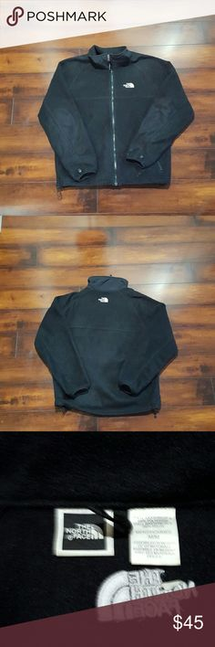 Men's The North Face fleece jacket, size medium Men's The North Face black fleece jacket.  Size medium.  No holes or tares, there is a spot on the left cuff and the bottom of the jacket, shown in the 4th picture. The North Face Jackets & Coats