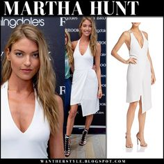 d4934abdb7 Martha Hunt in white asymmetric dress  model  style Martha Hunt