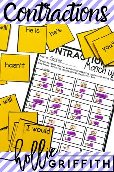 Teach students to use apostrophes in contractions with this engaging hands-on resource. This bundle includes eight days of lessons and activities, a PowerPoint presentations, an anchor chart, two interactive notebook pages, class games, task cards, a fun contraction cootie catcher, and a quick assessment. This is a complete hands-on mini unit. #HollieGriffithTeaching #KidsActivities #AnchorCharts