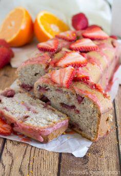 "Best ever Strawberry-Orange Sweet Bread with lots of strawberries, strawberry ""juice"" and a strawberry cream cheese glaze"