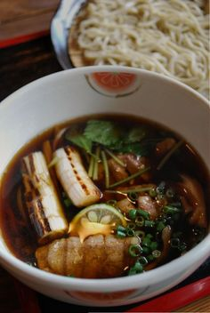 Japanese Buckwheat Noodles with Rich Dipping Duck Soup (Cold Soba Noodles and Hot Soup are Served Separately)