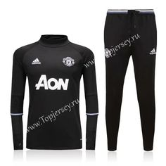 Cheap soccer jersey from topjersey 2016-17 Manchester United Black Thailand Soccer Tracksuit-Manchester United| topjersey