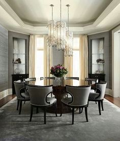 Dining room table chandelier black gray nail head