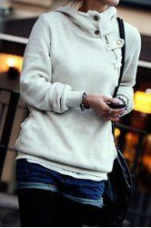 Side Pockets Design Long Sleeve Loose Women's Hoodie