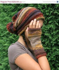 On Sale Long Fingerless Gloves Striped in Autumn by ForYouDesign, $21.75