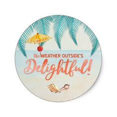 Christmas in Florida Delightful Weather Watercolor Classic Round Sticker - watercolor gifts style unique ideas diy