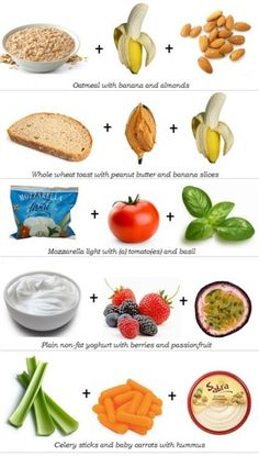 Chart of combinations of healthy complex carbs with lean protein for lunches and snacks.–this looks great for the college life! Chart of combinations of healthy complex carbs with lean protein… Get Healthy, Healthy Habits, Healthy Tips, Healthy Snacks, Healthy Recipes, Quick Snacks, Eating Healthy, Yummy Snacks, Protein Snacks