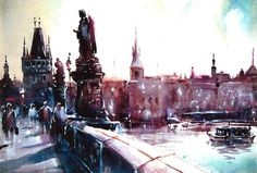 Print from Original Watercolor Illustration Cityscape City Art Painting tittled Charles Bridge via Etsy