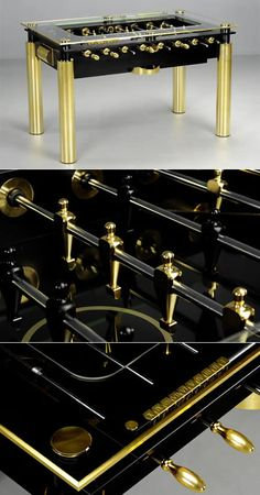 The Lux Gold Foosball Table- Just under 30K, The Lux Gold has been named the Foosball Table of Kings and for good reason. Upon gawking at The Lux Gold, your eyes are immediately mesmerized by striking legs that are encased in gold.