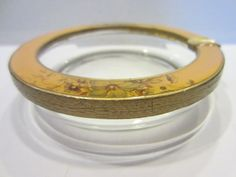 Brass Enameled Glass Ashtray Bowl Floral by designeruniquefinds